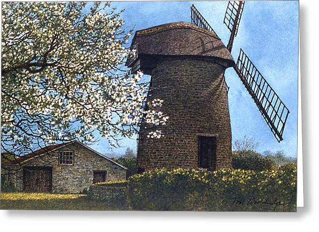 Greeting Card featuring the painting High Ham Spring by Tom Wooldridge