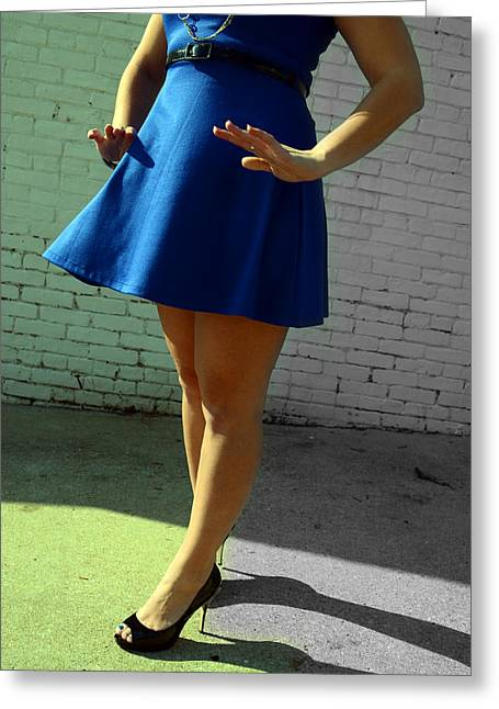 High Heels And A Blue Skirt Greeting Card