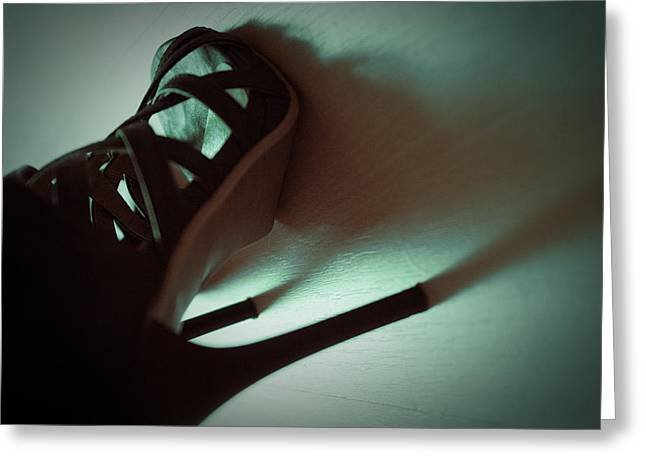 High Heels Brown Stylish Shoes Greeting Card