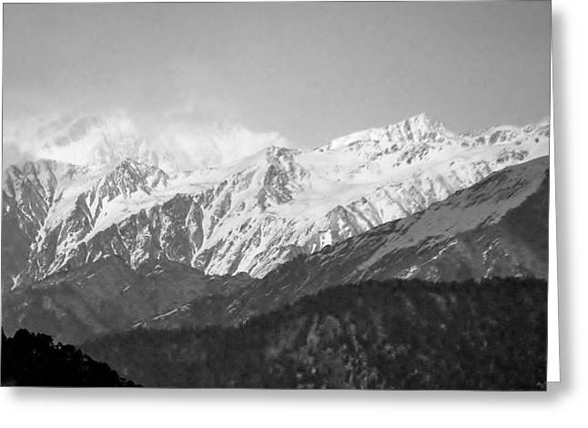 High Himalayas - Black And White Greeting Card by Kim Bemis