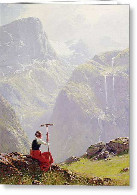 High In The Mountains Greeting Card by Hans Andreas Dahl