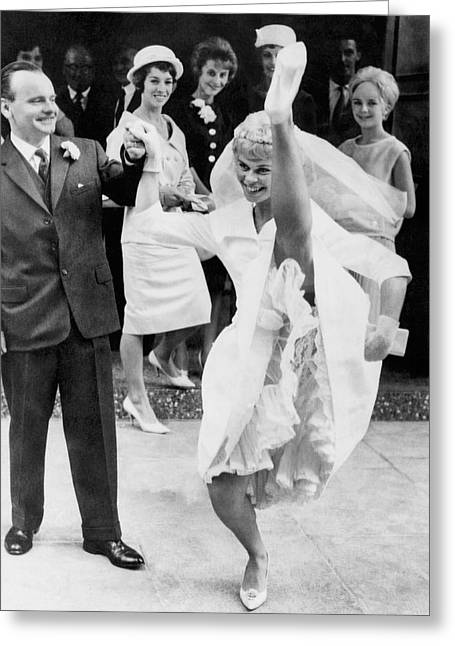 High Kicking Bride Greeting Card by Underwood Archives