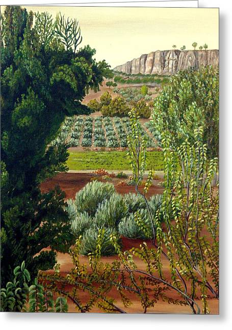 Greeting Card featuring the painting High Mountain Olive Trees  by Angeles M Pomata