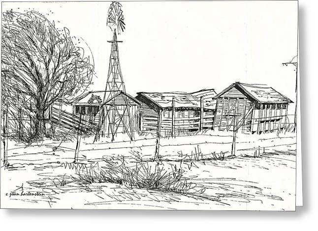 High Plains Barns Greeting Card by Joan Hartenstein