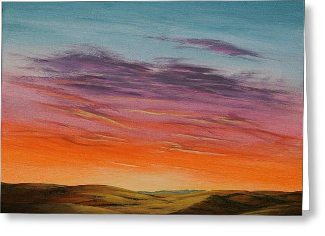 High Plains Sunset Greeting Card by J W Kelly