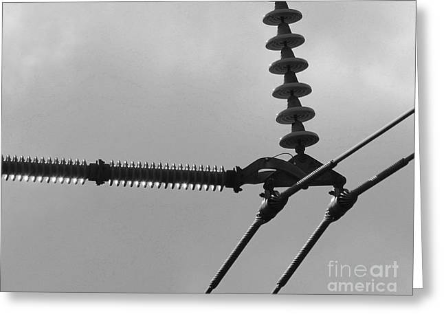 Greeting Card featuring the photograph High Power Lines - 2 by Kenny Glotfelty