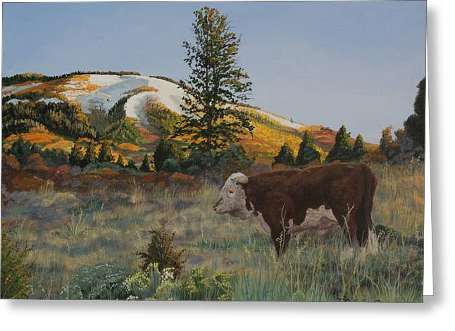 High Range Bull Greeting Card by Timithy L Gordon