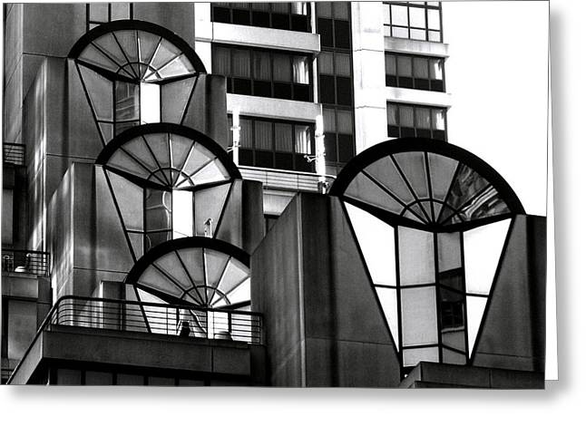 High Rise In Black And White Greeting Card by Bill Gallagher