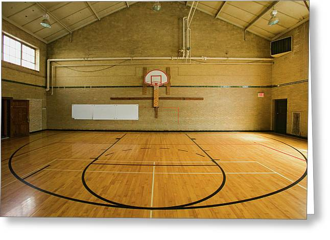 High School Basketball Court And Head Greeting Card