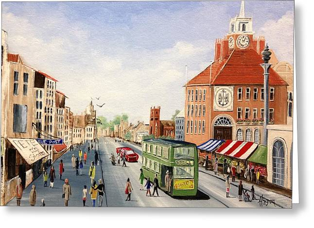 Greeting Card featuring the painting High Street by Helen Syron