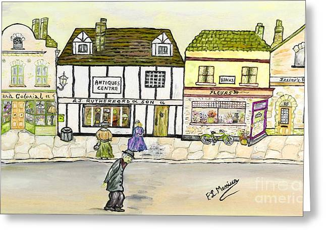 Greeting Card featuring the painting High Street by Loredana Messina
