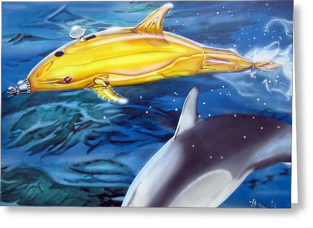 Greeting Card featuring the painting High Tech Dolphins by Thomas J Herring