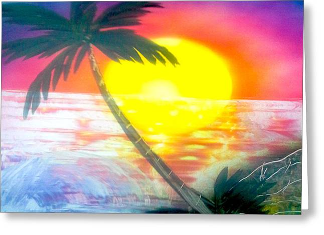 High Tide Sunset Greeting Card by William  Dorsett
