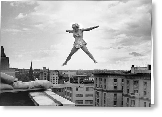 High Up Acrobatics Greeting Card by Underwood Archives