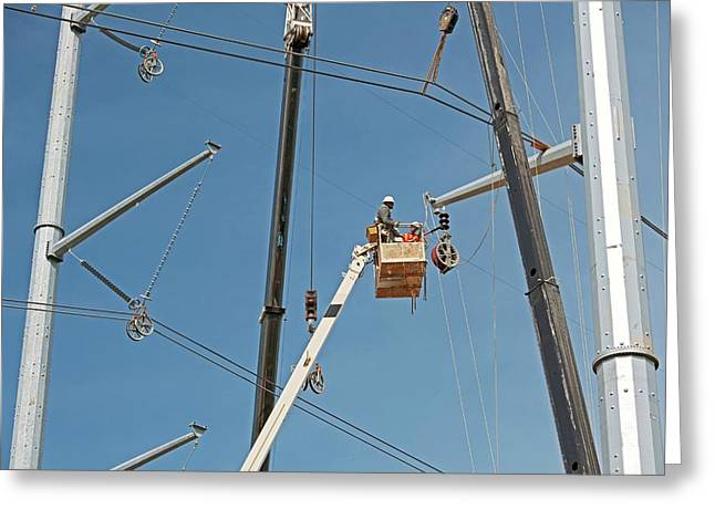 High Voltage Power Line Construction Greeting Card by Jim West