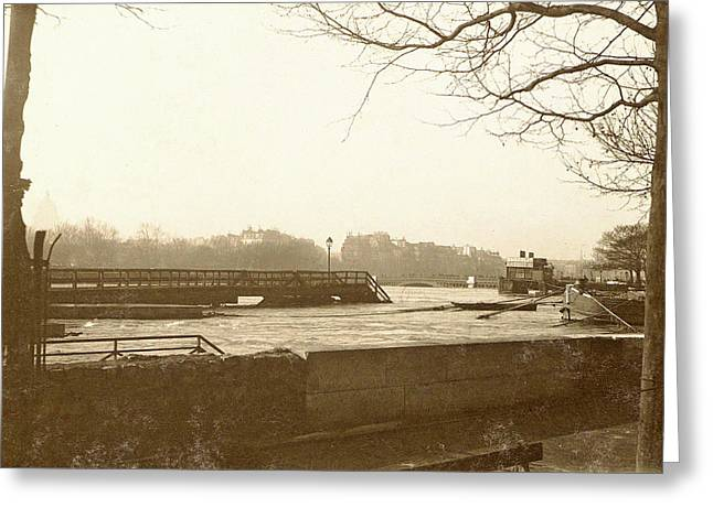 High Water In The Seine In Paris, In The Foreground A Quay Greeting Card by Artokoloro