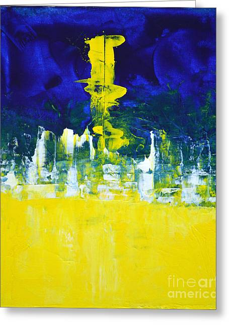 Higher Mind Blue Lemon Yellow Abstract By Chakramoon Greeting Card by Belinda Capol