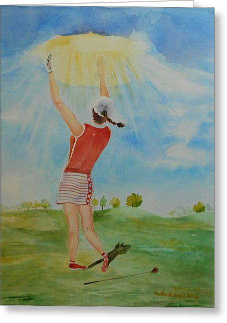 Highest Calling Is God Next Golf Greeting Card by Geeta Biswas