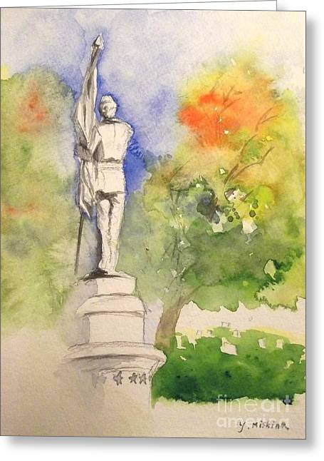 Highland Cemetery-plein Air-ypsilanti Michigan 1 Greeting Card by Yoshiko Mishina