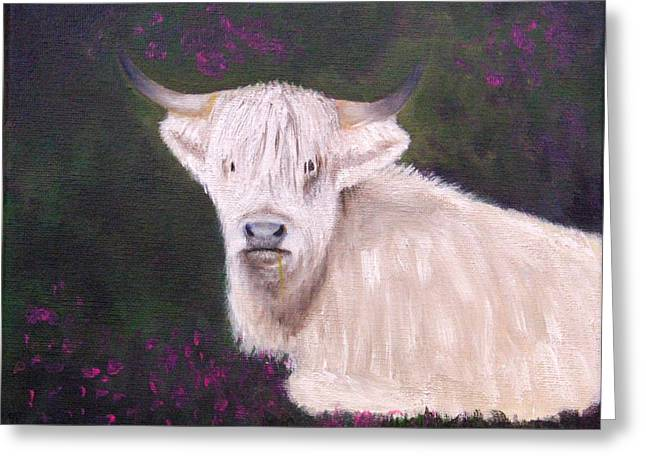 Greeting Card featuring the painting Highland Cow In The Heather by Janet Greer Sammons