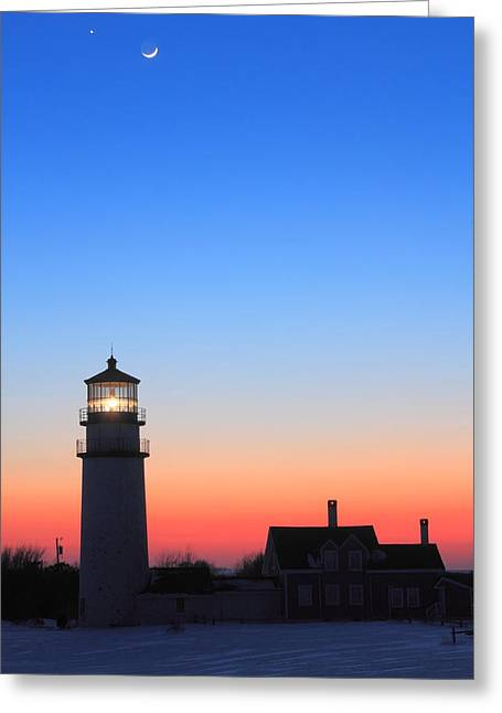 Highland Lighthouse And Moon Venus Mars Conjunction Greeting Card