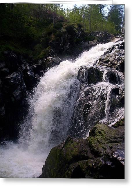 Highland Waterfall Greeting Card by R McLellan