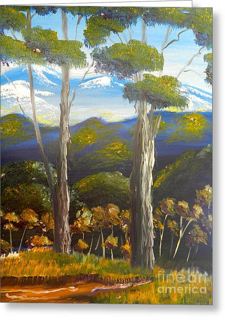 Highlands Gum Trees Greeting Card by Pamela  Meredith