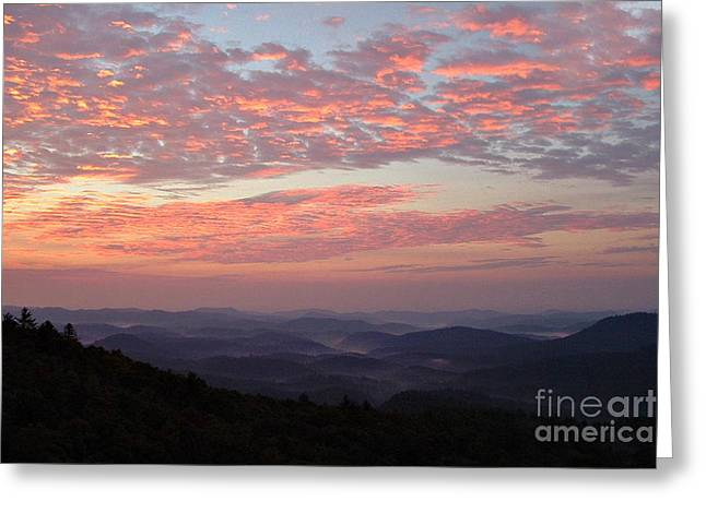 Highlands North Carolina Sunrise In The Great Smokey Mountains Greeting Card by Reid Callaway