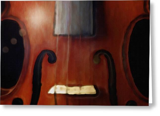 Highlighted Violin Greeting Card by Dennis Buckman