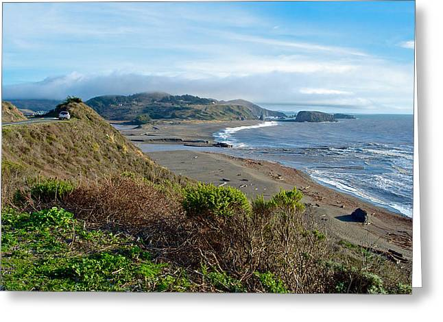 Highway 1 Near Outlet Of Russian River Into Pacific Ocean Near Jenner-ca  Greeting Card