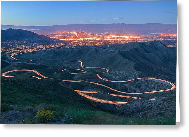 Highway 74 Palm Desert Ca Vista Point Light Painting Greeting Card