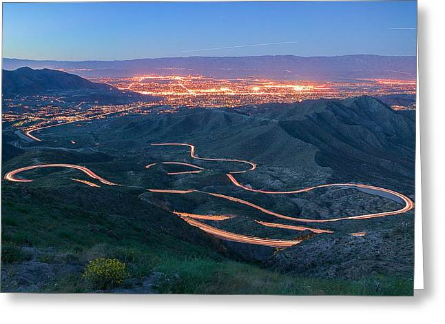 Highway 74 Palm Desert Ca Vista Point Light Painting Greeting Card