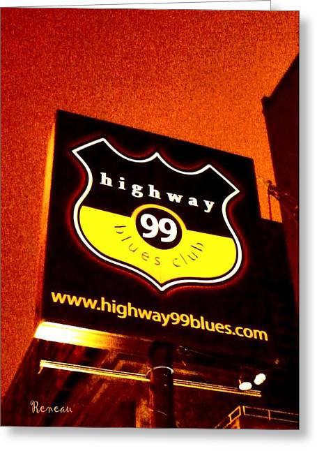 Highway 99 Blues Club Sign Seattle Wa Greeting Card By Sadie Reneau