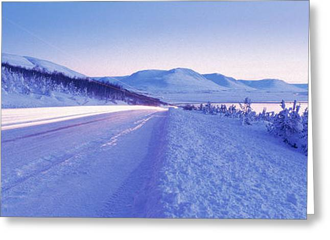Highway Running Through A Snow Covered Greeting Card by Panoramic Images