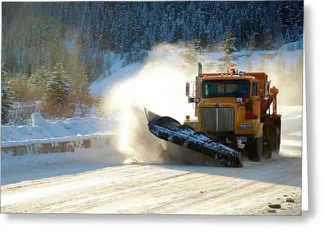 Highway Snow Plow In Winter Greeting Card by Richard Wright