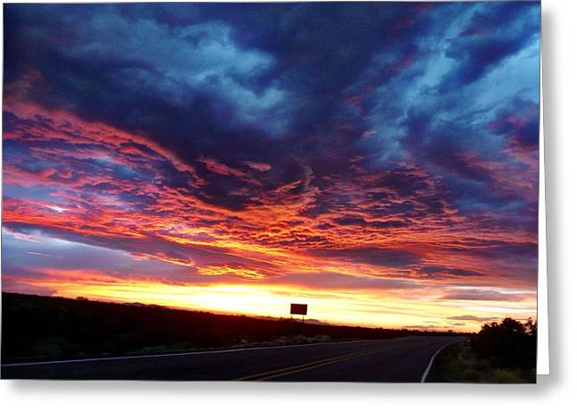 Highway Sunset Greeting Card by Estrella Rodriguez