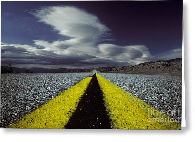 Highway Through Death Valley Greeting Card by Ron Sanford