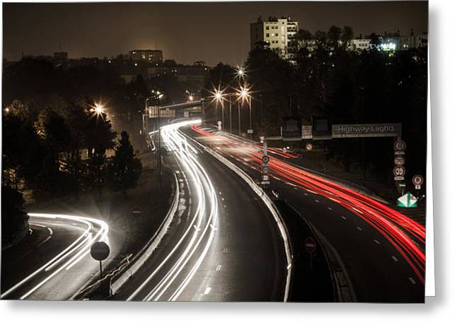 Greeting Card featuring the photograph Highway's Lights by Stwayne Keubrick