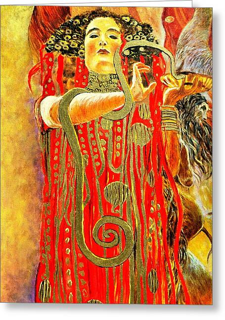 Higieja-according To Gustaw Klimt Greeting Card by Henryk Gorecki