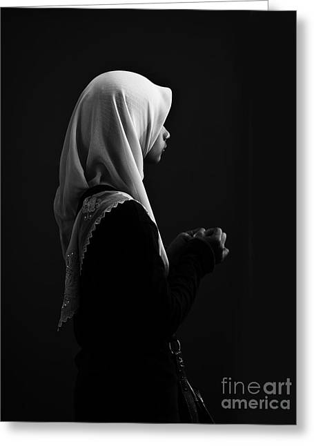 Hijab Profile Greeting Card by Avalon Fine Art Photography