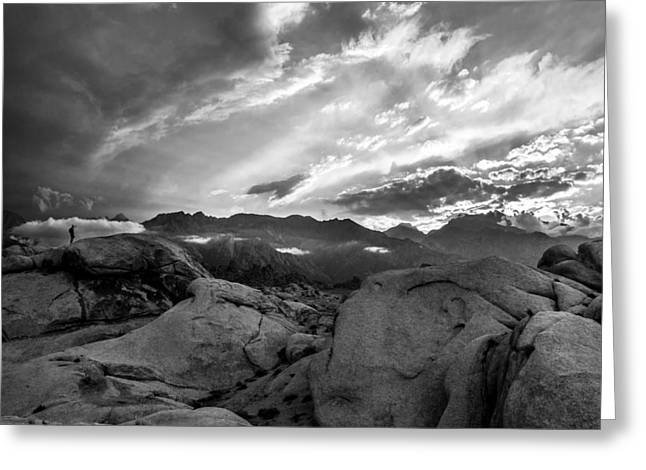 Hiker At Alabama Hills Greeting Card by Cat Connor