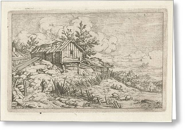 Hiker At Dilapidated Fence, Allaert Van Everdingen Greeting Card by Quint Lox