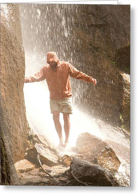 Hiker Cooling Off  Inyoin Waterfall Greeting Card