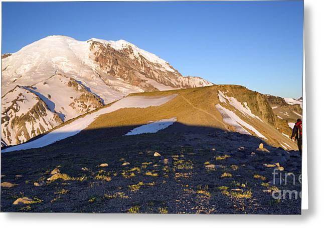 Hiker Heads Toward Mt. Rainier Via Burroughs Mountain Greeting Card by Christopher Boswell