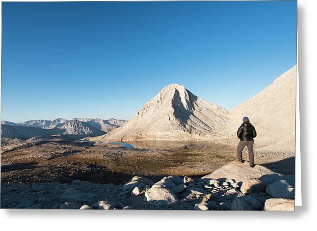 Hiker Looking Over Royce Lakes Greeting Card