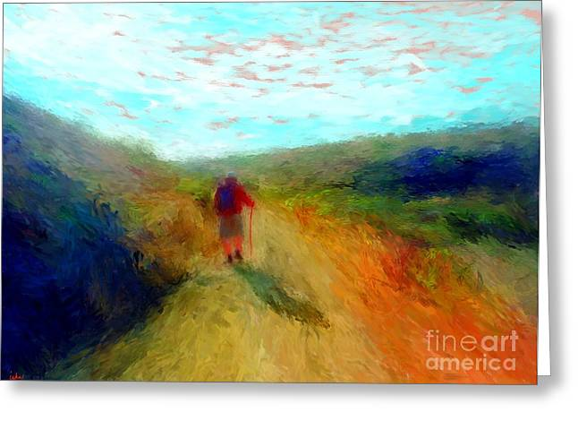 Hiker On Path Greeting Card
