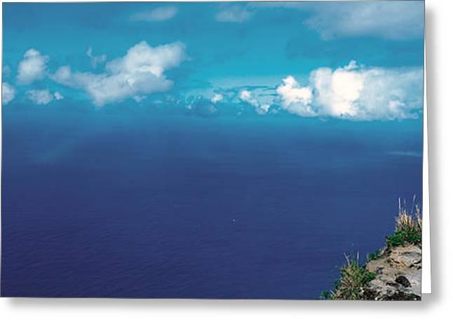 Hiker Pali Kokee State Park Kauai Hi Usa Greeting Card by Panoramic Images