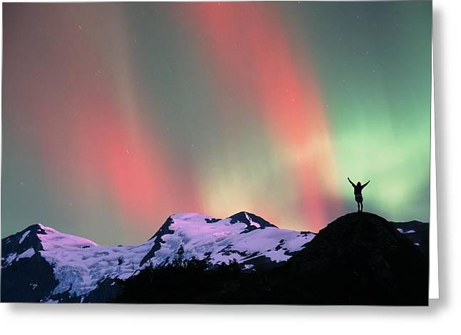 Hiker Praises N. Lights Over Portage Greeting Card