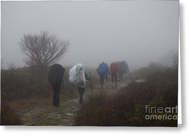 Hikers Going Into The Fog At Dolly Sods Greeting Card by Dan Friend