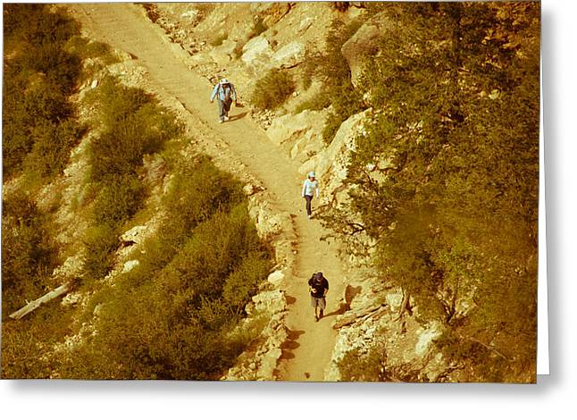 Hikers In Canyon Greeting Card by Nickaleen Neff